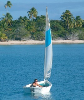 "Amanda enjoys a slow sail in ""Nikka"", the sailing dinghy."