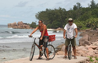 Fantastic bike riding on the coast of La Digue
