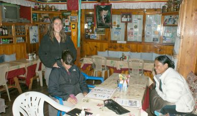 "Dining room of our Lukla (""Namaste"") guesthouse"