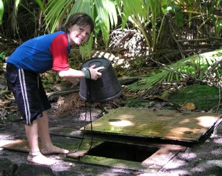 Abby from Estrela collects non-potable water at the well in Chagos