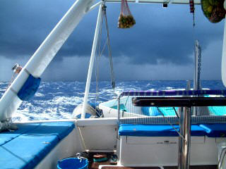 A fierce squall builds up behind us - we sailed straight through it!