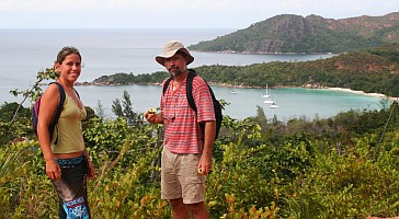 Hiking above Anse Lazio, Praslin with Ocelot below