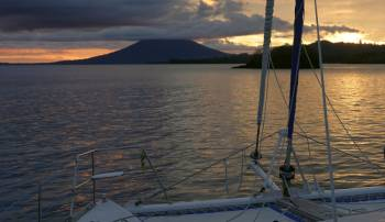 Sunset at our Tuare Islets anchorage