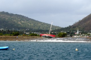 Wreck on the shores of Petite Terre, Mayotte