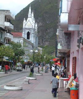 Main street, Baños, with the cathedral.