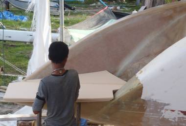 Baw fitting sheets of foam to raise the floor of port swim platform