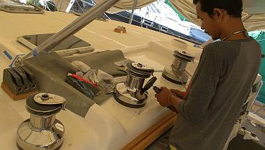 Baw taking it easy, polishing our stainless steel winches