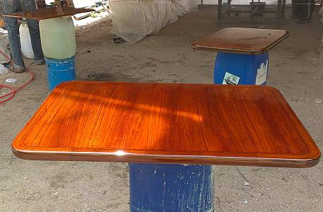 The teak inside tables are going to look VERY nice