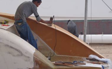 Baw trimming foam for the top of the starboard wall