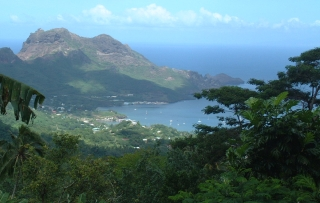 Nuku Hiva's beautiful bays nad mountains, from the hills, Marquesas, Fr. Polynesia