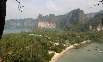 Cliffs  & beaches near Krabi from high in the limestone hills.