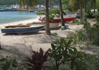 Small fishing boats on the Bequia beach