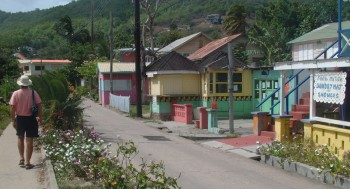 Jon walking the main street of Bequia