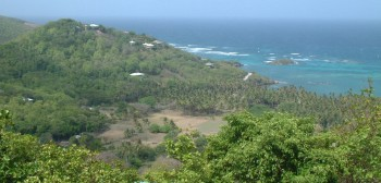 View east from a hilltop house, Bequia