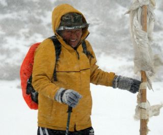 Thupten, our incorrigible guide, still smiling in blizzard in Sikkim