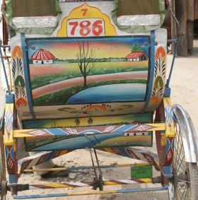 Bicycle rickshaws are common in lowlands, West Bengal, India