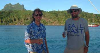 Bill & Jon celebrating another glorious sail to Bora-Bora