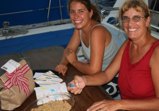 Birthday at sea, with an apple crisp as cake.