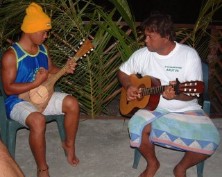 Jean-Paul (16) on the ukulele with his dad on guitar