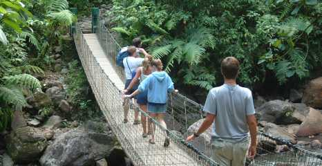 Crossing a suspension bridge to get to the Carbet Falls
