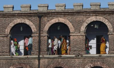 "Indian tourists inside ""cellular jail"", the old political prison"