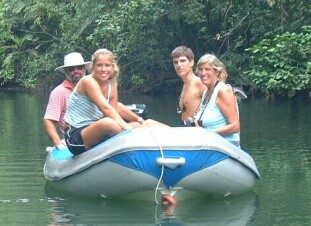 The Hackings exploring a tributary of the Rio Chagres