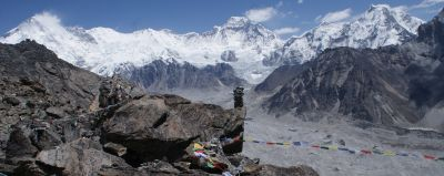 Cho-Oyu massif from prayer flag shrouded Gokyo Ri