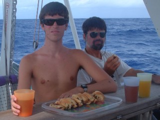 Lunch at sea, with Chris's fresh herb bread