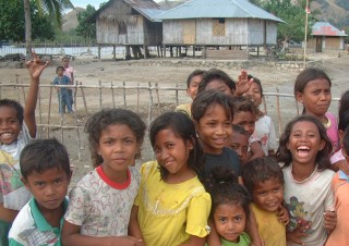 Kids in Ciendah, Flores flocked around us