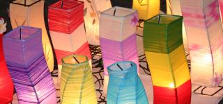 Cloth lanterns at a night market in Chiang Mai