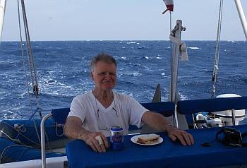 Colin enjoys lunch downwind in 30 knots