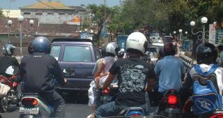 Traffic jam? Typical road in Denpasar