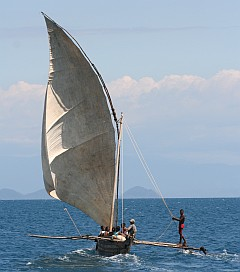 Madagascar wooden outrigger dhow