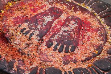 Puja (blessing/prayer) on a doorstep