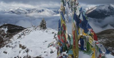 Frozen prayer flags on Dzongri Hill, 4320m/14250', Sikkim, India