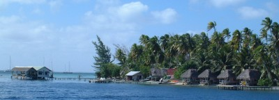 South Fakarava Pass, with the resort and dive shop