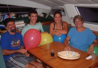 The Hacking family aboard Ocelot in Tonga
