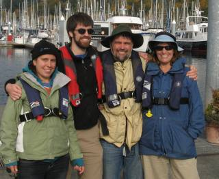 Family together, about to sail the Sound. Brrr.