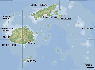 Small map of the Fijian Islands