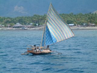 Local fishing boat off Ciendah village,Flores,  Indonesia