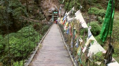 Suspension bridge over the PrekChu,  way below Tsokha, Sikkim, India