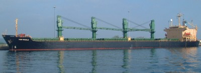 "The ""bulk carrier"" we locked up with, now in Gatun Lake"