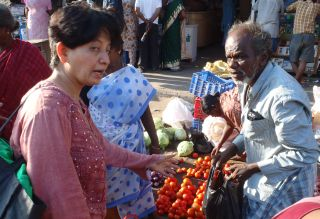 Shantha & Sue go provisioning at Parry's, Chennai, India