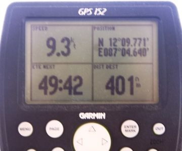 The GPS records 9.3 knots of speed! Woot!