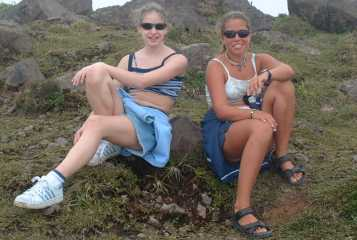 Vanilla & Chocolate spies on top of Mt. Soufriere volcano