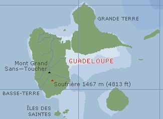 The butterfly of Guadeloupe, with the Saintes just to the south