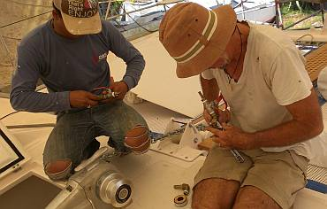 Heru and Jon rebuilding the forward diesel manifolds