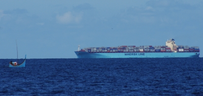 Indonesian fisherman meets Maersk Line. We thought we were small!