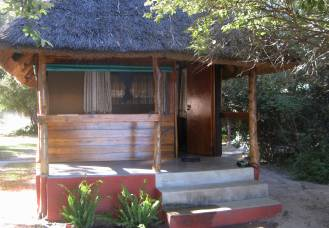 Nice guest hut at Island View Lodge, just beds. Namibia