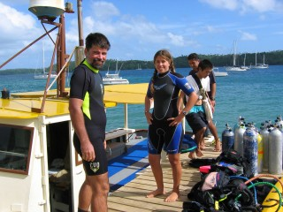 Jon and Amanda on the Dolphin Pacific Diving Dock, Vava'u